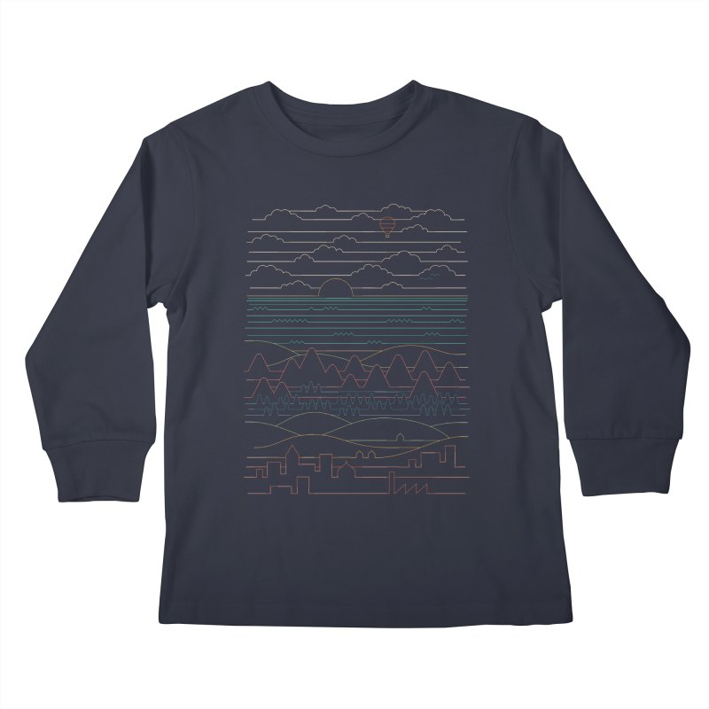 Linear Landscape Kids Longsleeve T-Shirt by thepapercrane's shop
