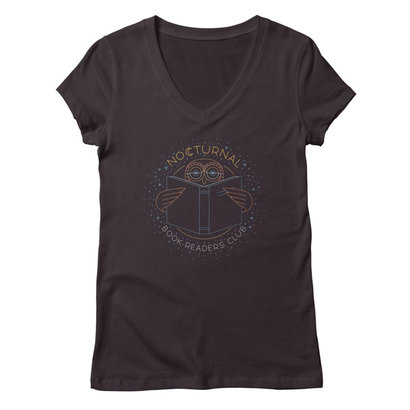 Nocturnal Book Readers Club Women's Regular V-Neck by thepapercrane's shop
