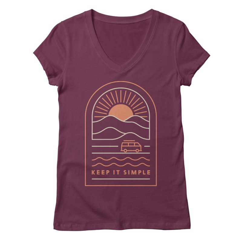 Keep It Simple Women's Regular V-Neck by thepapercrane's shop