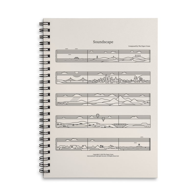 Soundscape Accessories Lined Spiral Notebook by thepapercrane's shop
