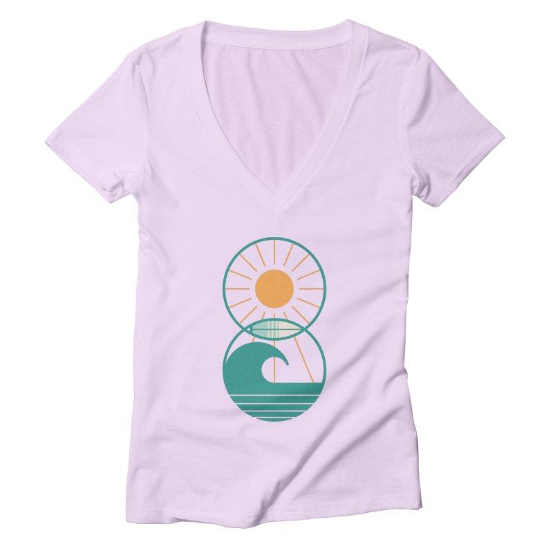 Sun Sea and Surf Women's V-Neck by thepapercrane's shop