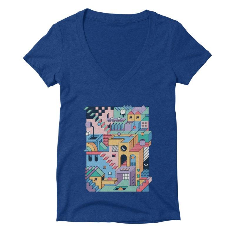 80s Escher Women's V-Neck by thepapercrane's shop