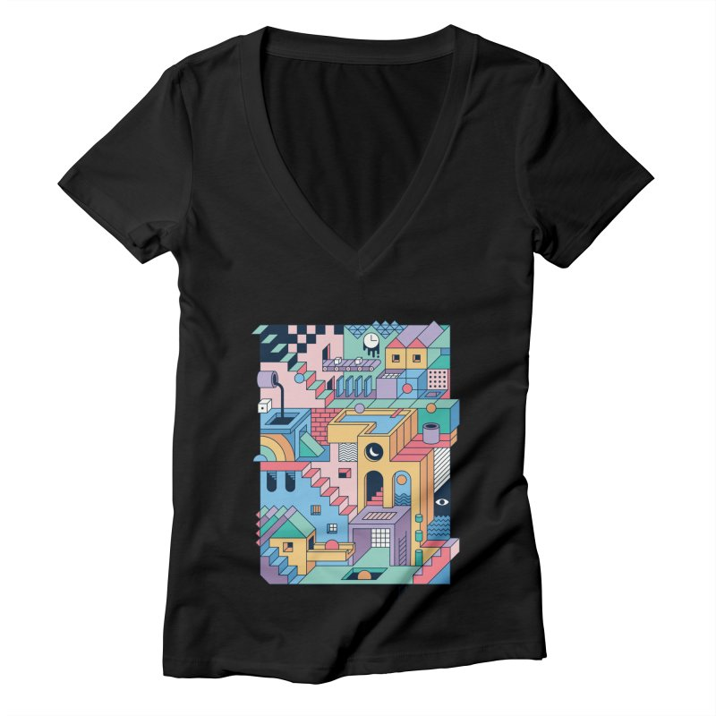 80s Escher Women's V-Neck by thepapercrane's shop