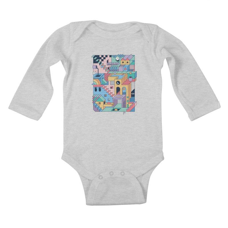 80s Escher Kids Baby Longsleeve Bodysuit by thepapercrane's shop