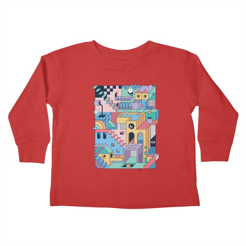 80s Escher Kids Toddler Longsleeve T-Shirt by thepapercrane's shop