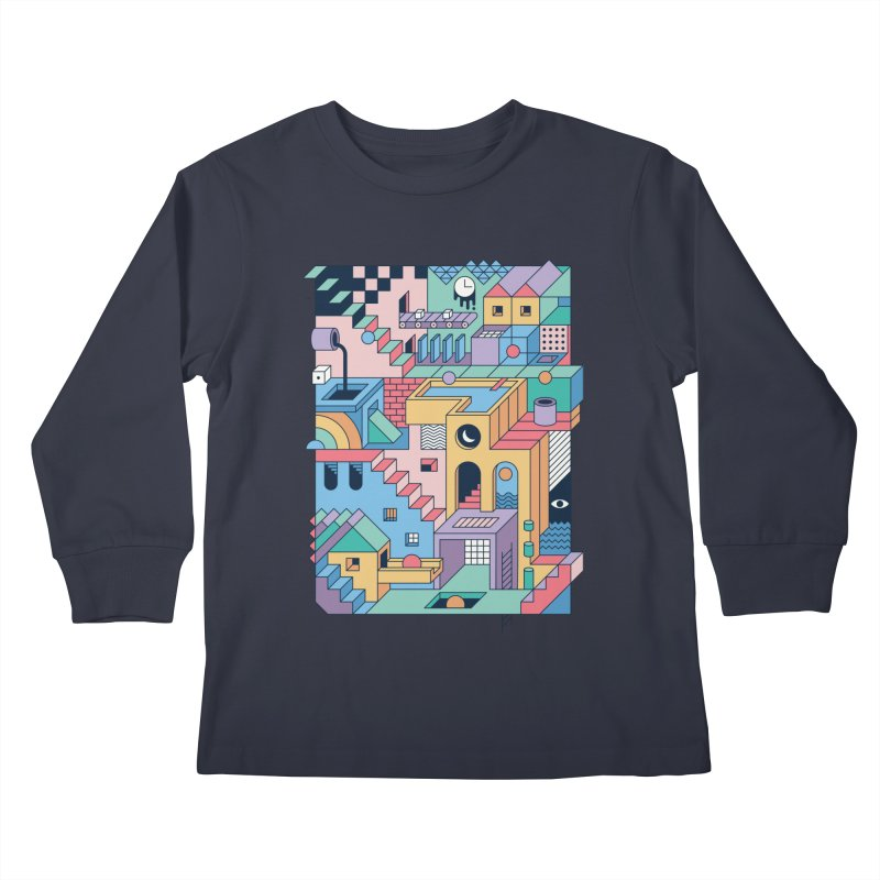 80s Escher Kids Longsleeve T-Shirt by thepapercrane's shop