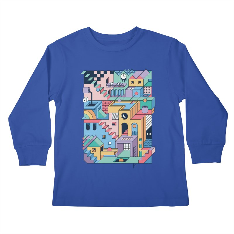 80s Escher Kids Longsleeve T-Shirt by thepapercrane's shop