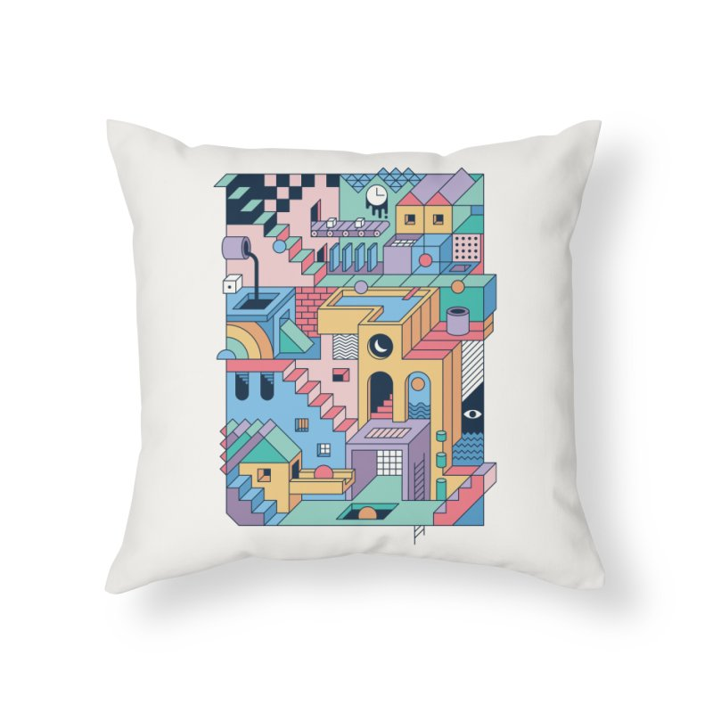 80s Escher Home Throw Pillow by thepapercrane's shop