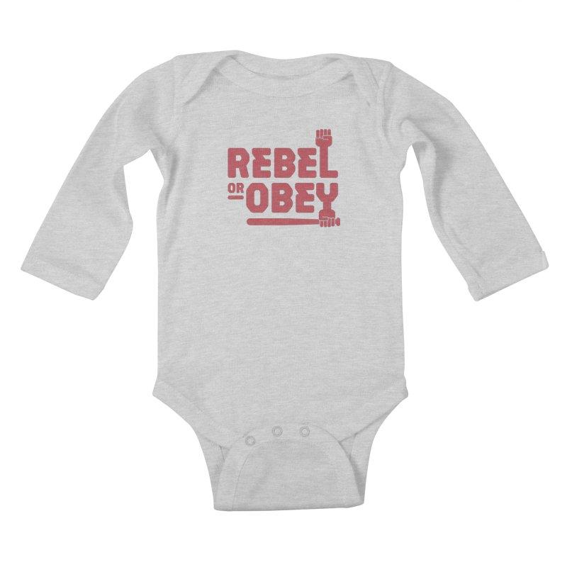 Rebel or Obey Kids Baby Longsleeve Bodysuit by thepapercrane's shop
