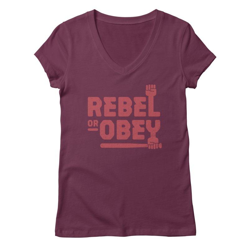 Rebel or Obey Women's V-Neck by thepapercrane's shop