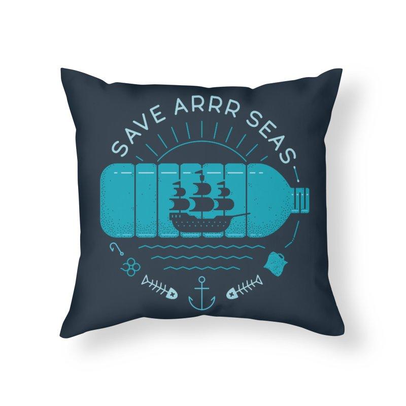 Save Arrr Seas Home Throw Pillow by thepapercrane's shop