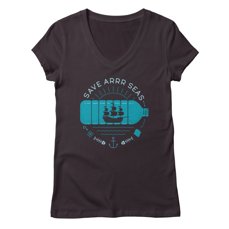 Save Arrr Seas Women's V-Neck by thepapercrane's shop