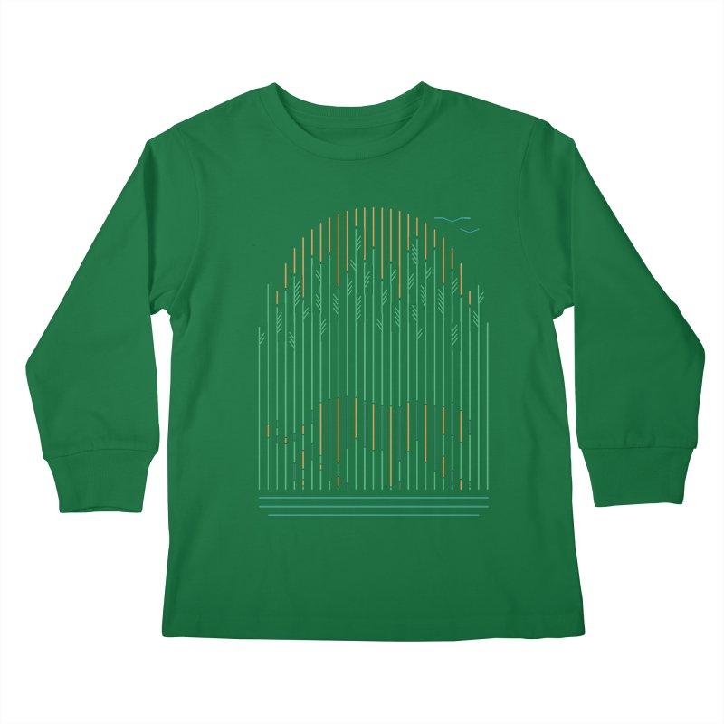 Tiger In The Grass Kids Longsleeve T-Shirt by thepapercrane's shop