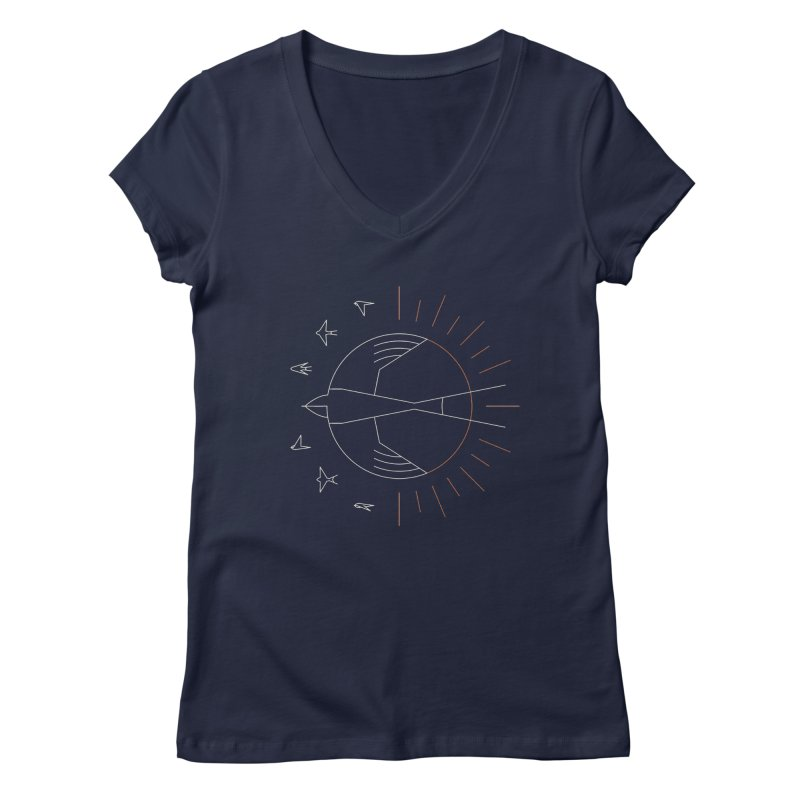 Swallow The Sun Women's V-Neck by thepapercrane's shop