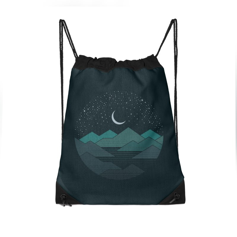 Between The Mountains And The Stars Accessories Drawstring Bag Bag by thepapercrane's shop