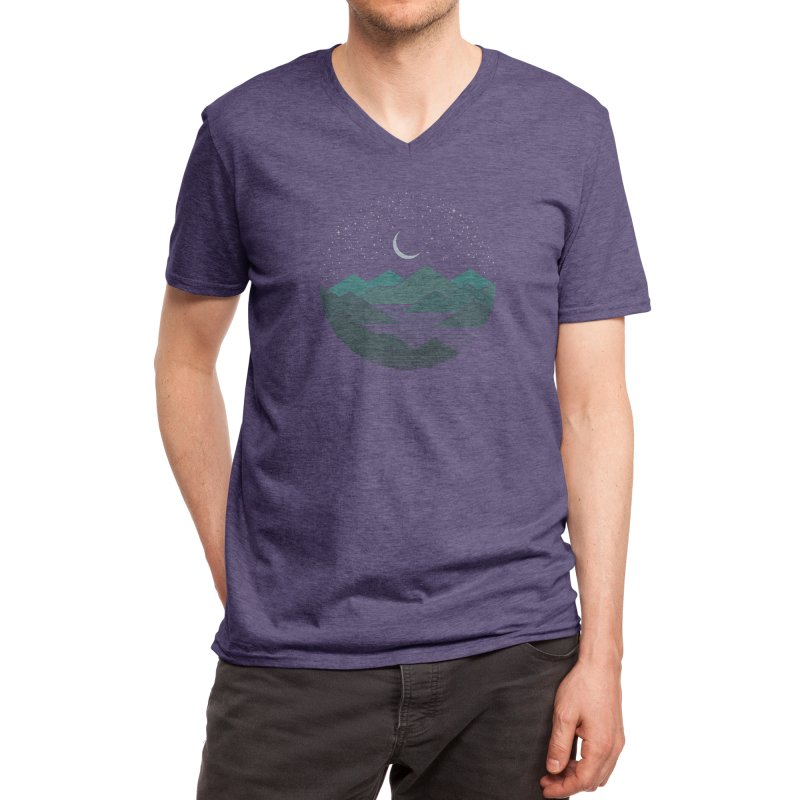 Between The Mountains And The Stars Men's V-Neck by thepapercrane's shop