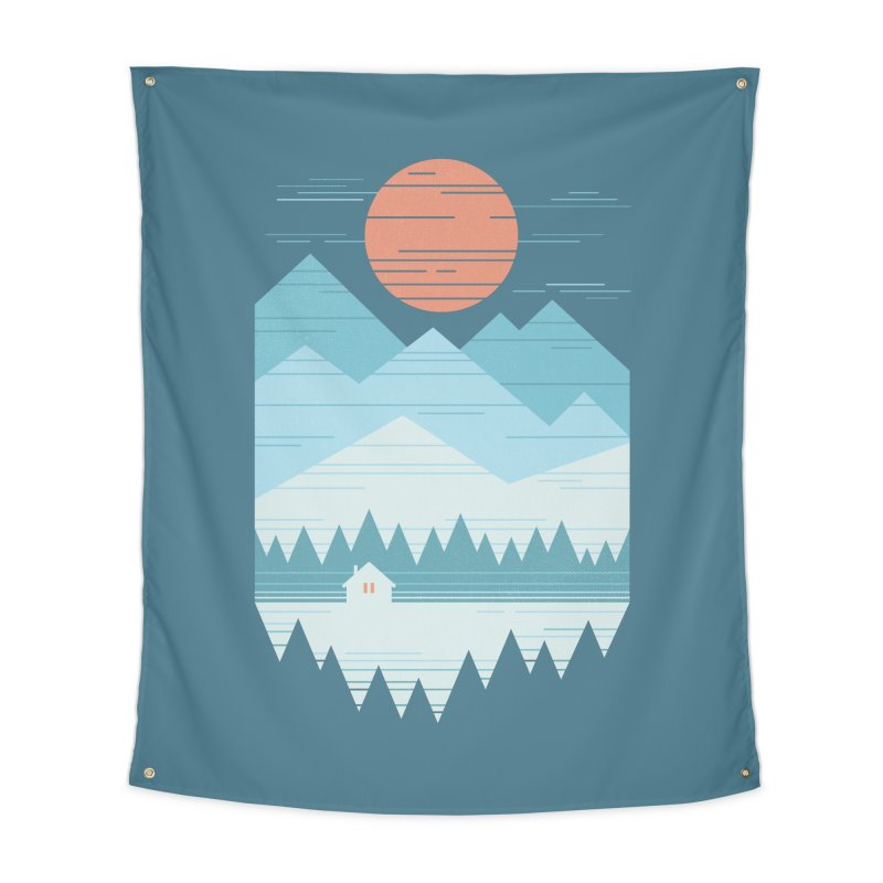 Cabin In The Snow Home Tapestry by thepapercrane's shop