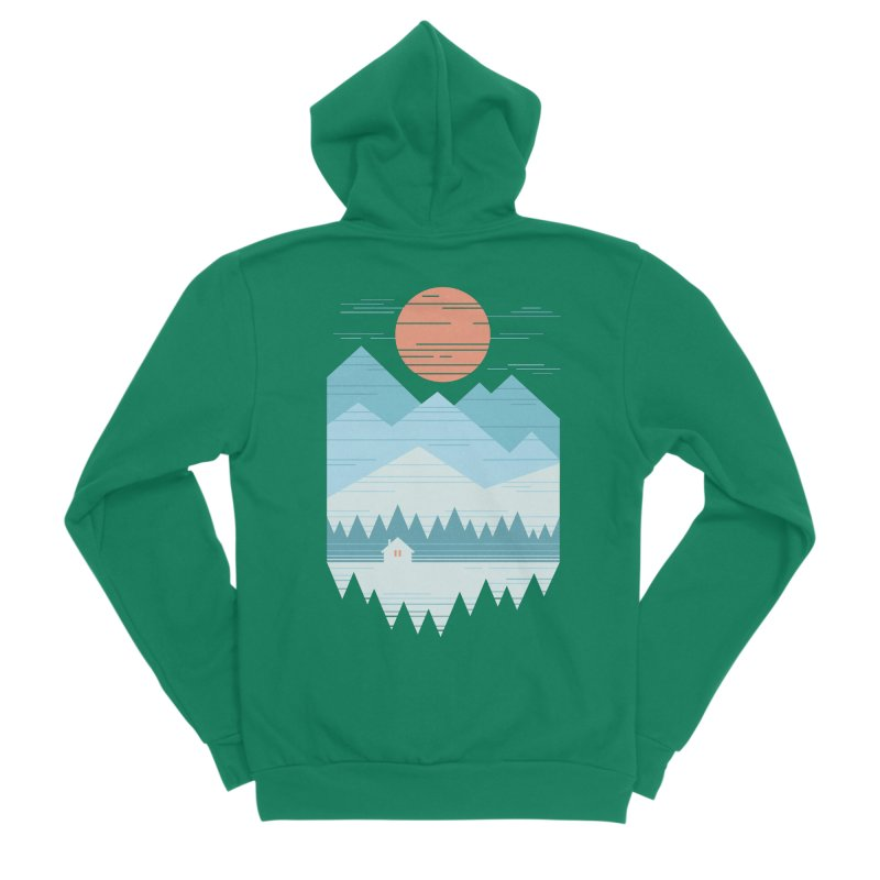 Cabin In The Snow Women's Sponge Fleece Zip-Up Hoody by thepapercrane's shop