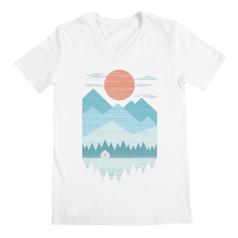 Cabin In The Snow Men's V-Neck by thepapercrane's shop