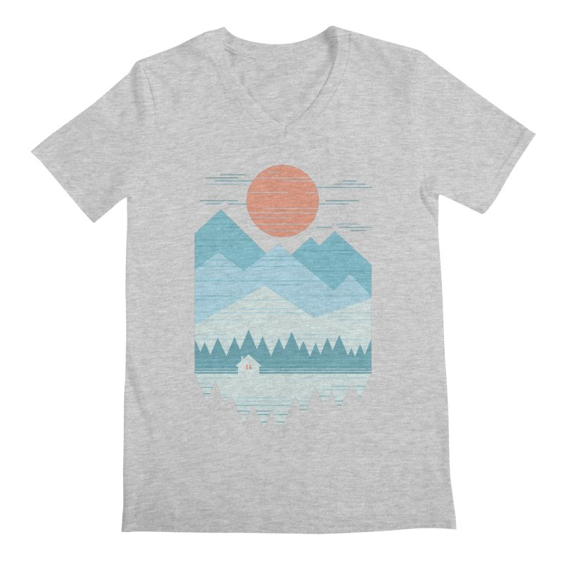Cabin In The Snow Men's Regular V-Neck by thepapercrane's shop