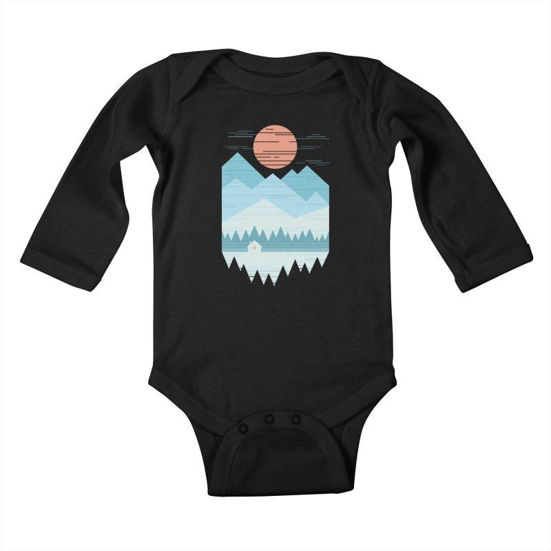 Cabin In The Snow Kids Baby Longsleeve Bodysuit by thepapercrane's shop