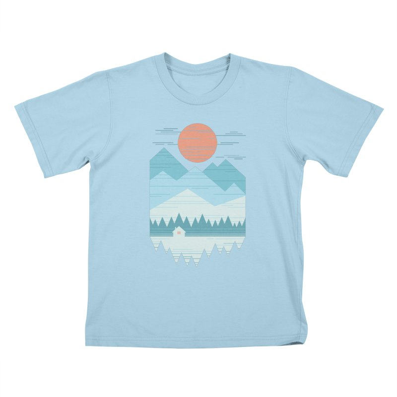 Cabin In The Snow Kids T-Shirt by thepapercrane's shop