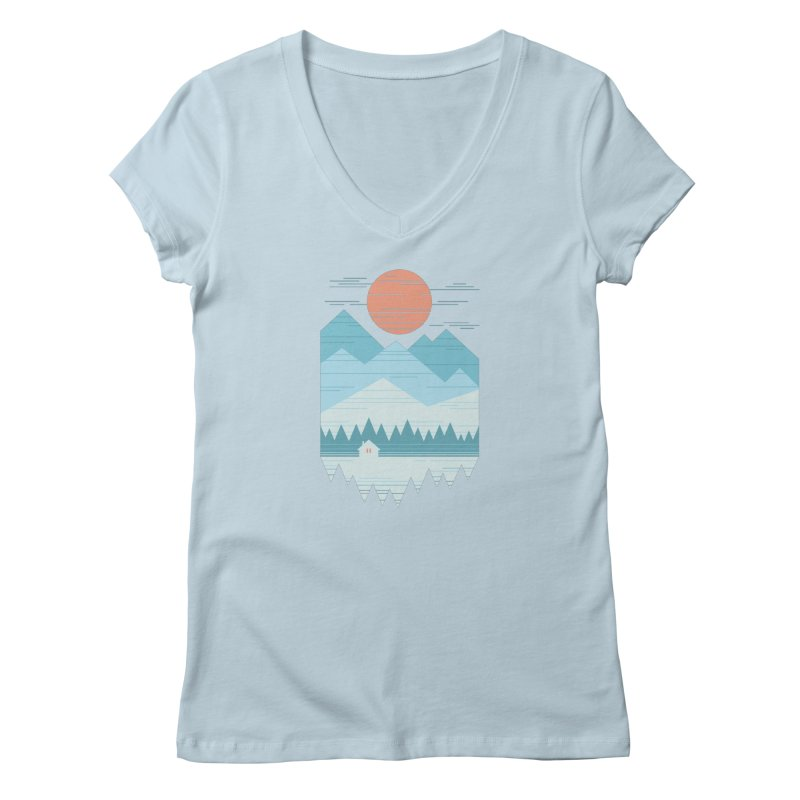 Cabin In The Snow Women's V-Neck by thepapercrane's shop