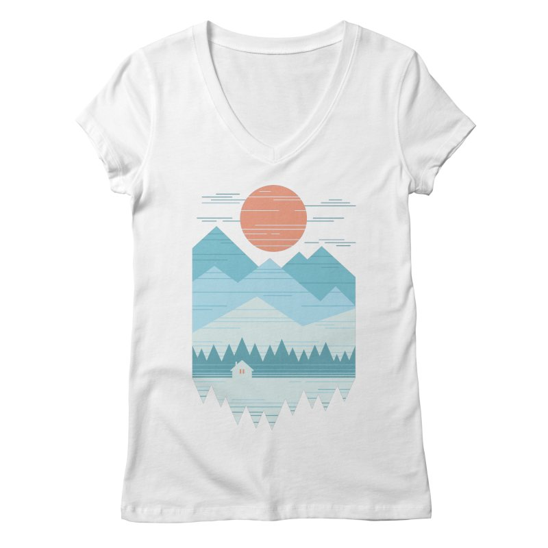 Cabin In The Snow Women's Regular V-Neck by thepapercrane's shop