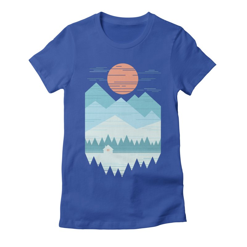 Cabin In The Snow Women's Fitted T-Shirt by thepapercrane's shop