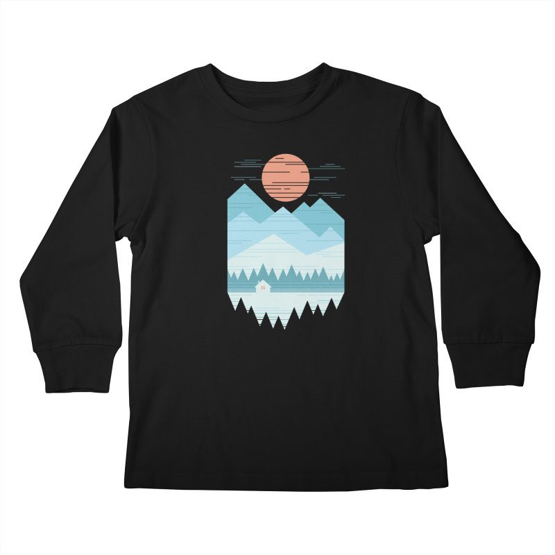 Cabin In The Snow Kids Longsleeve T-Shirt by thepapercrane's shop