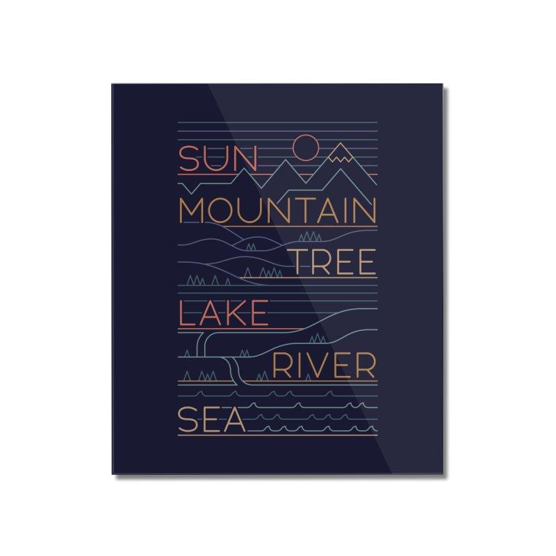 Sun, Mountain, Tree Home Mounted Acrylic Print by thepapercrane's shop