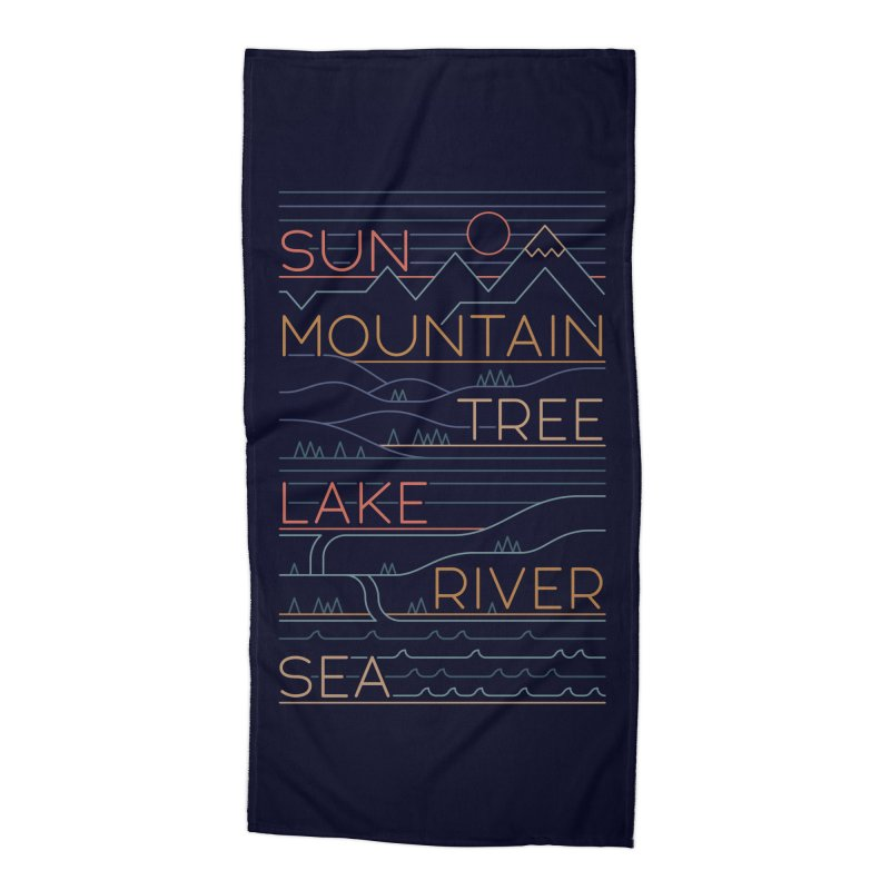 Sun, Mountain, Tree Accessories Beach Towel by thepapercrane's shop