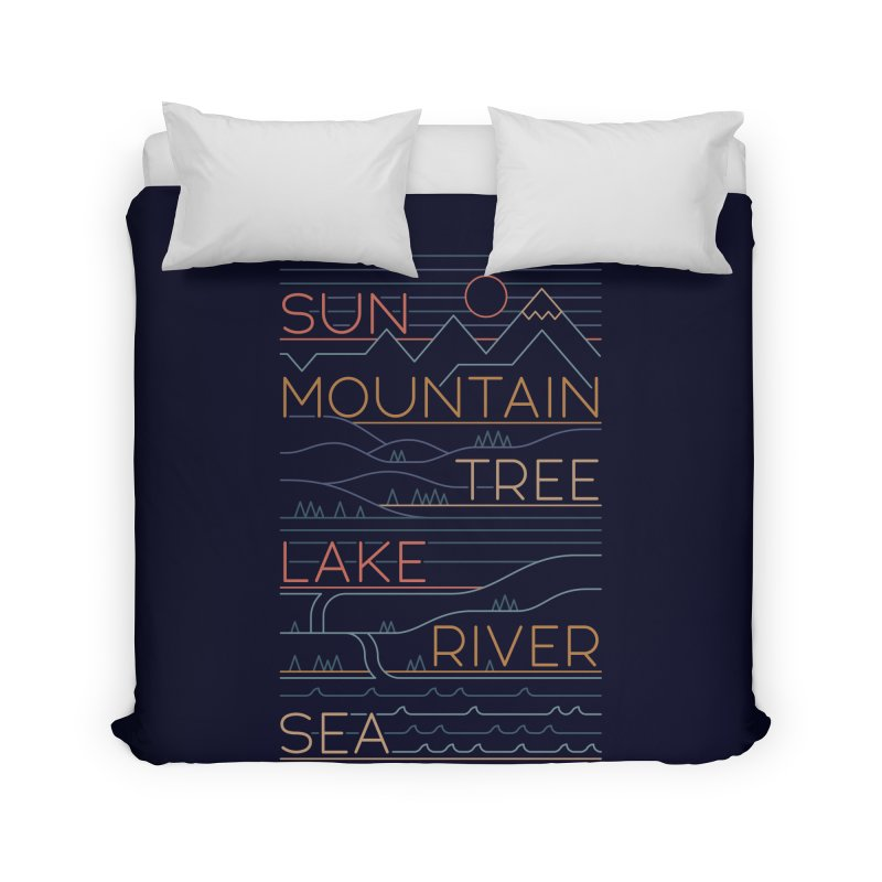 Sun, Mountain, Tree Home Duvet by thepapercrane's shop