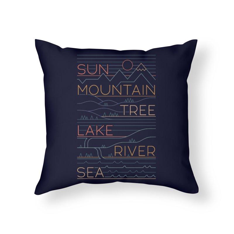 Sun, Mountain, Tree Home Throw Pillow by thepapercrane's shop