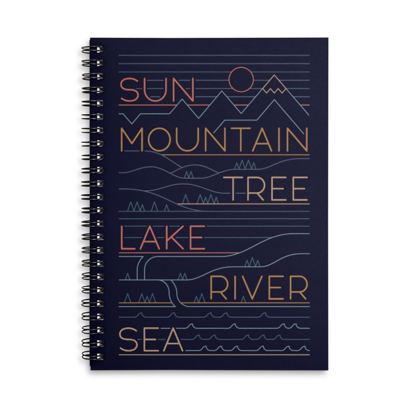 Sun, Mountain, Tree Accessories Lined Spiral Notebook by thepapercrane's shop