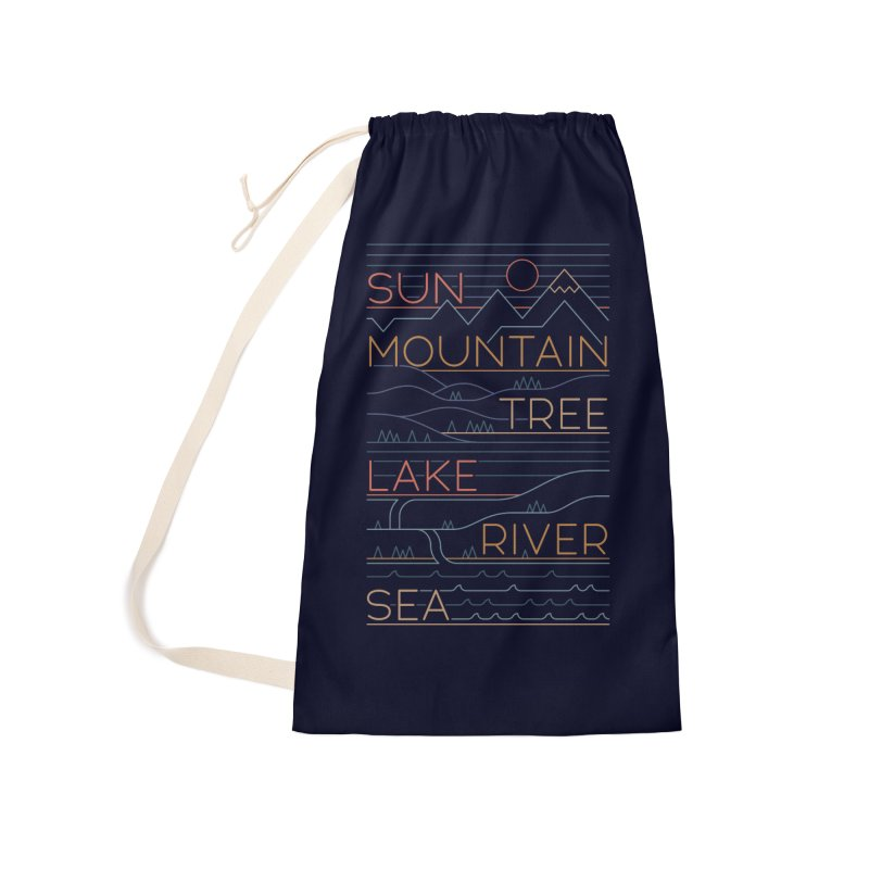Sun, Mountain, Tree Accessories Laundry Bag Bag by thepapercrane's shop