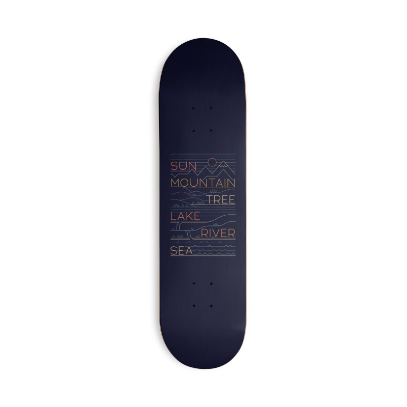 Sun, Mountain, Tree Accessories Deck Only Skateboard by thepapercrane's shop