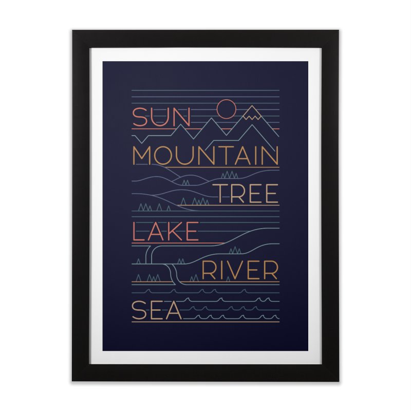 Sun, Mountain, Tree Home Framed Fine Art Print by thepapercrane's shop