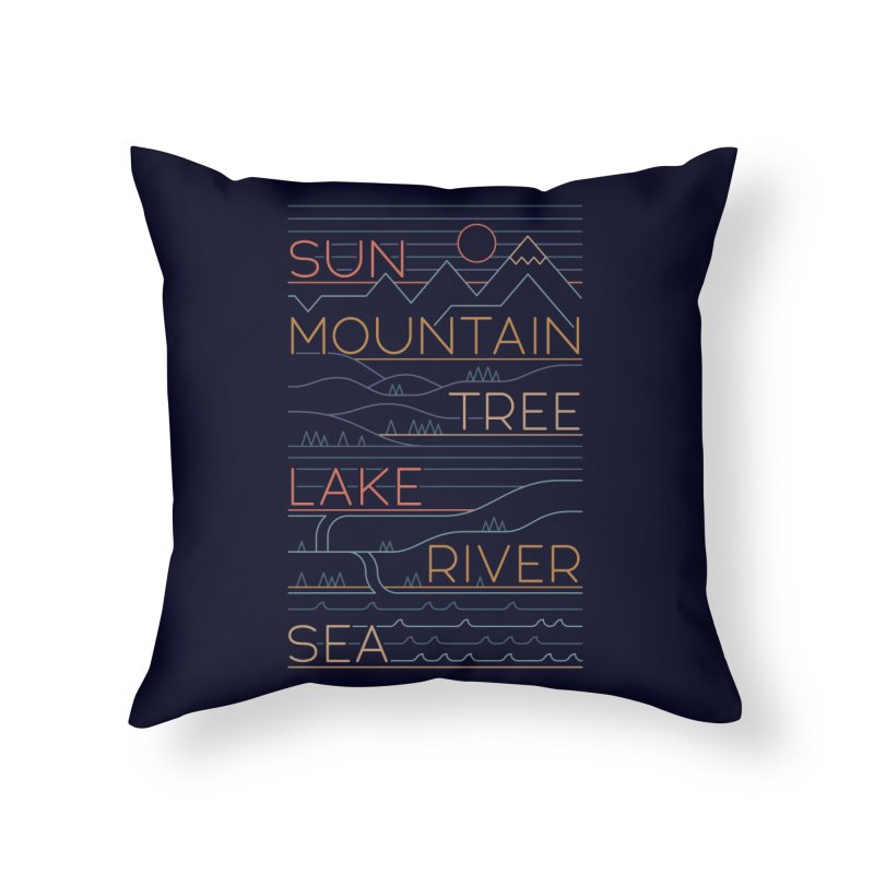 Sun, Mountain, Tree Home Throw Pillow by thepapercrane's shop