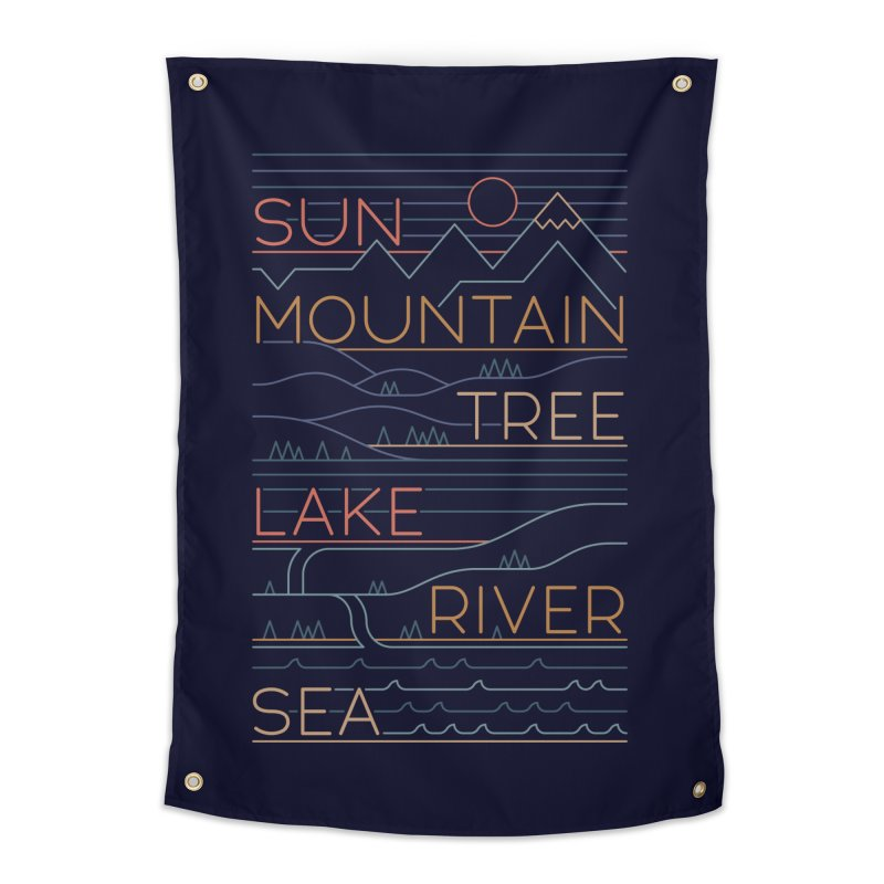 Sun, Mountain, Tree Home Tapestry by thepapercrane's shop
