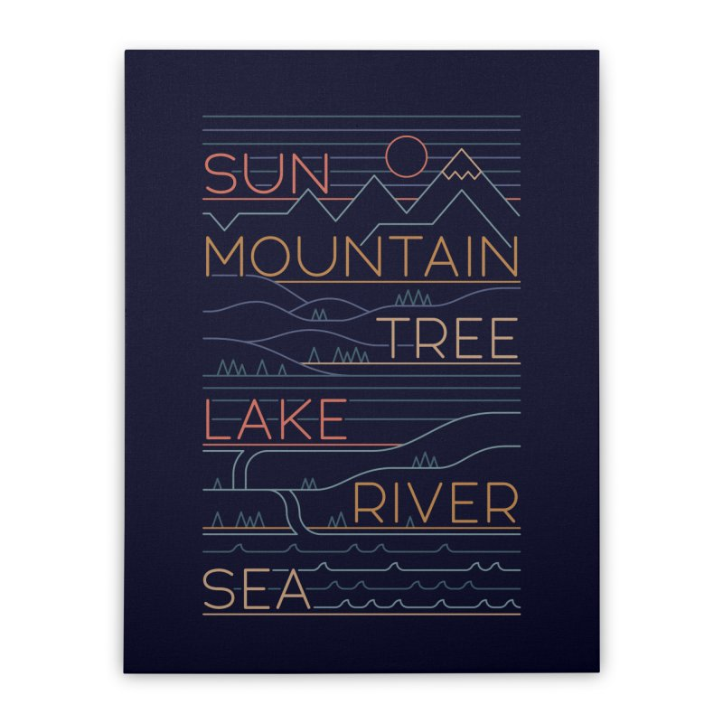 Sun, Mountain, Tree Home Stretched Canvas by thepapercrane's shop