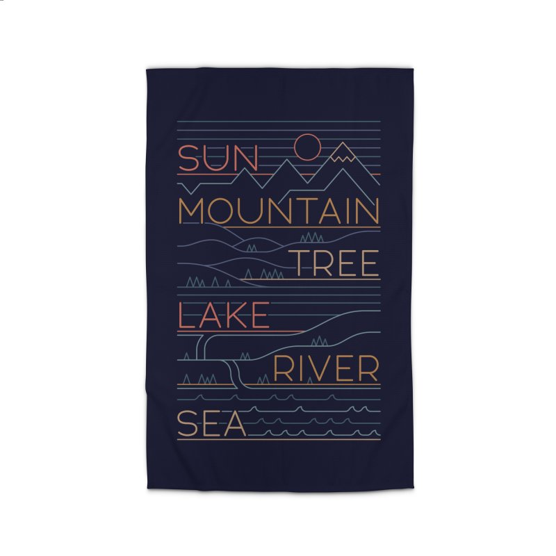 Sun, Mountain, Tree Home Rug by thepapercrane's shop