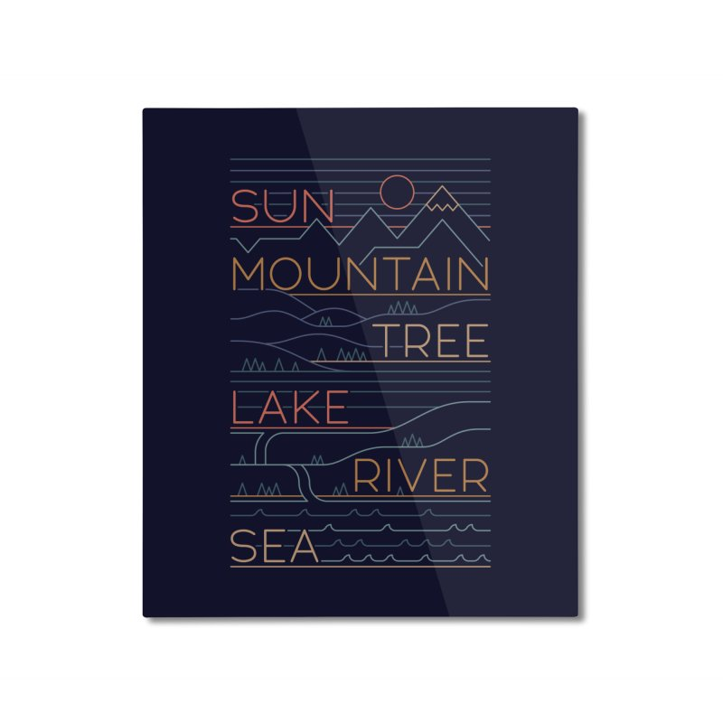 Sun, Mountain, Tree Home Mounted Aluminum Print by thepapercrane's shop