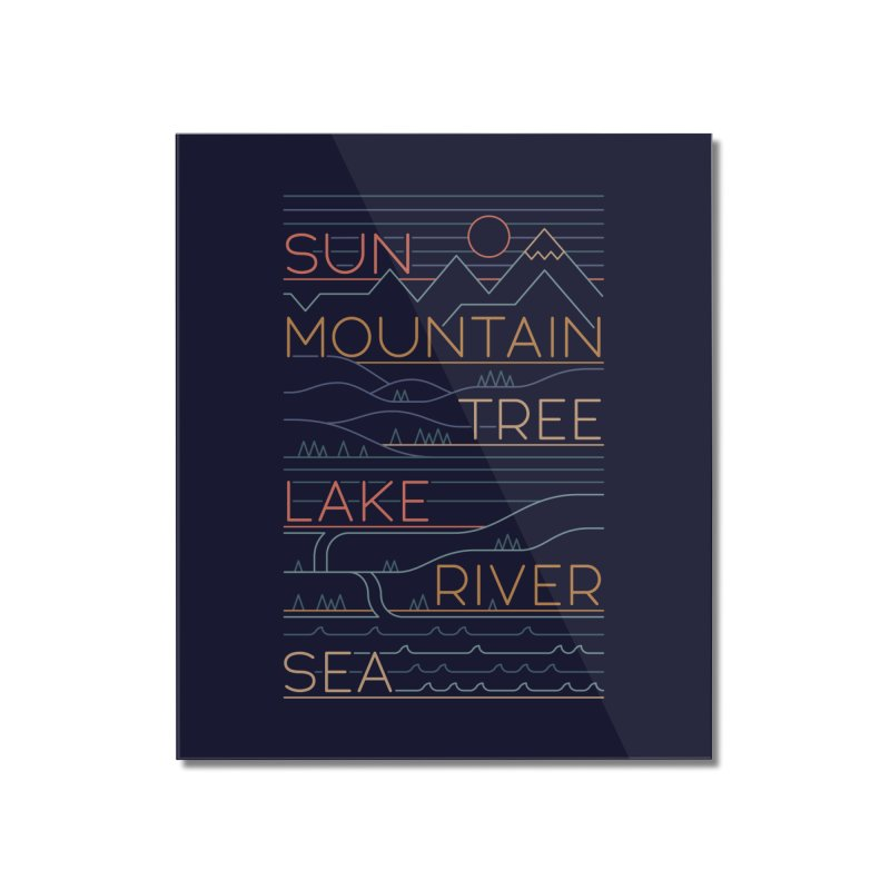 Sun, Mountain, Tree Home Mounted Acrylic Print by thepapercrane's shop