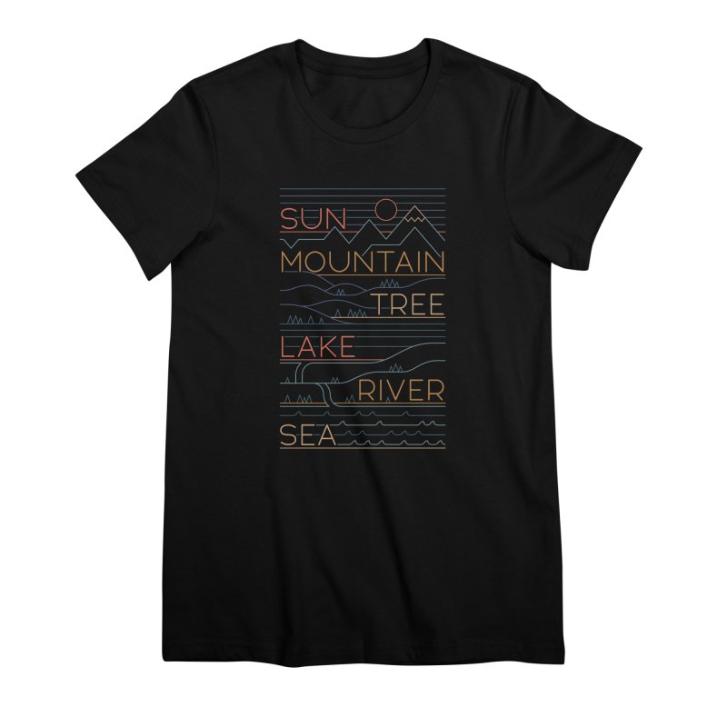 Sun, Mountain, Tree Women's Premium T-Shirt by thepapercrane's shop