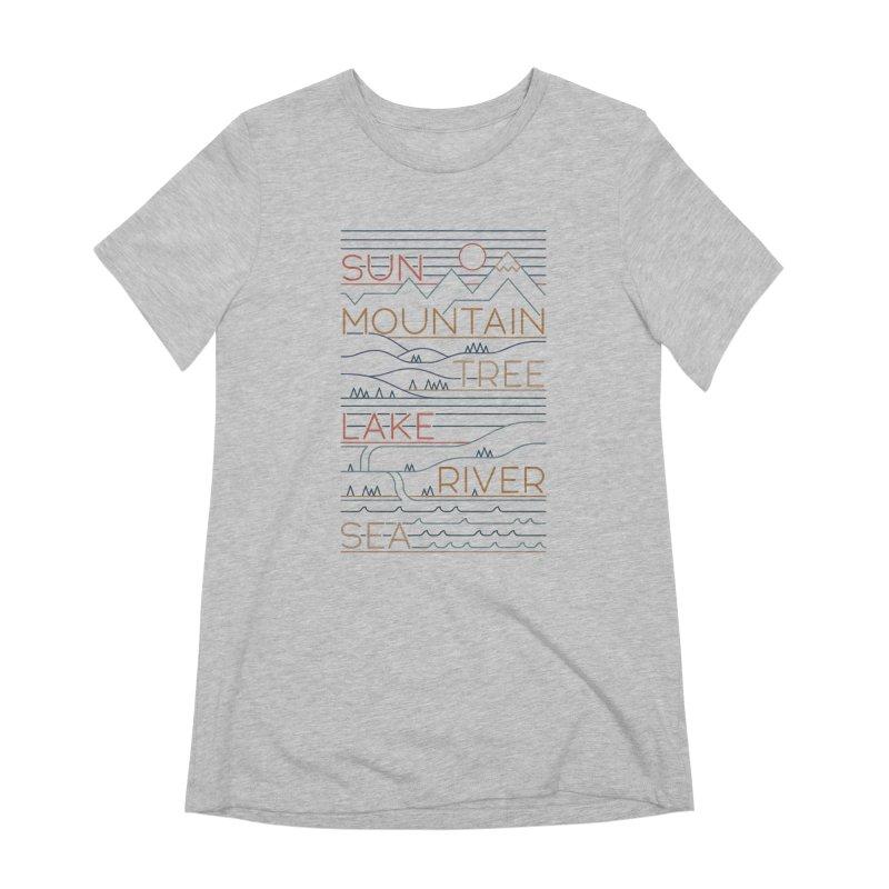 Sun, Mountain, Tree Women's Extra Soft T-Shirt by thepapercrane's shop