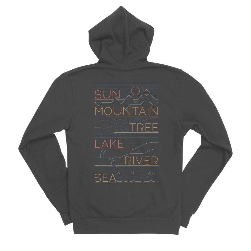 Sun, Mountain, Tree Men's Sponge Fleece Zip-Up Hoody by thepapercrane's shop