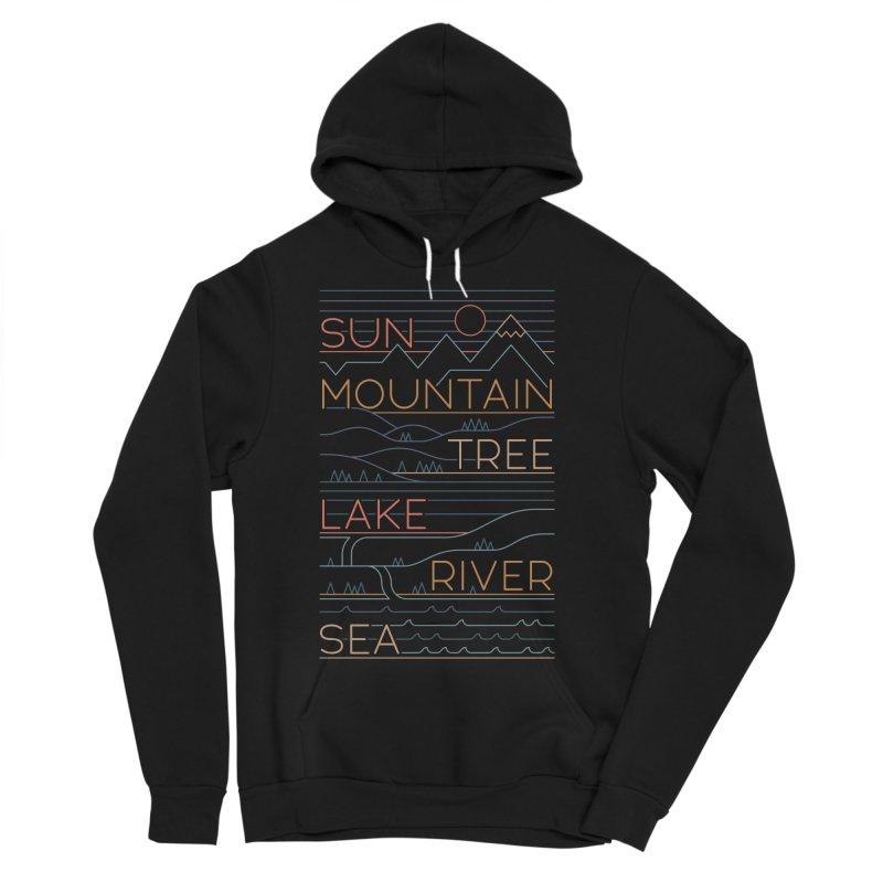 Sun, Mountain, Tree Men's Sponge Fleece Pullover Hoody by thepapercrane's shop