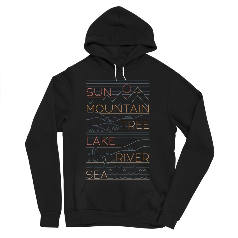 Sun, Mountain, Tree Women's Sponge Fleece Pullover Hoody by thepapercrane's shop