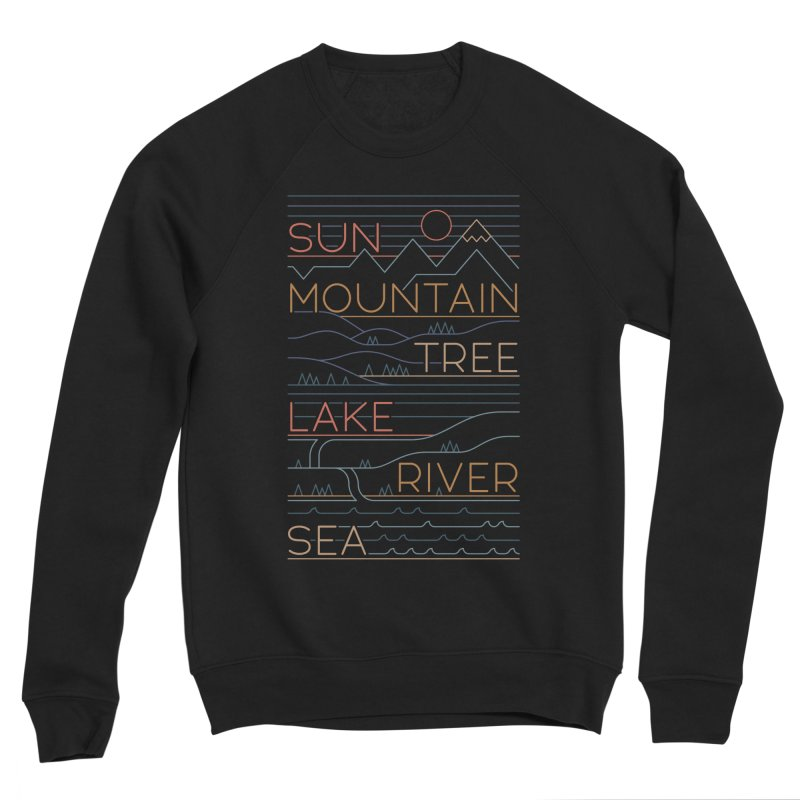 Sun, Mountain, Tree Men's Sponge Fleece Sweatshirt by thepapercrane's shop